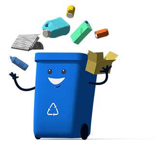 Recycle Bin Juggling Recyclables