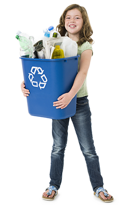 Girl holding full recycling bin